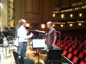"""Principal Percussion Will James and David Robertson during a break in """"Peter Grimes"""" rehearsal"""