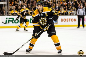 Patrice Bergeron employing no vibrato from the forward position for the Boston Bruins.
