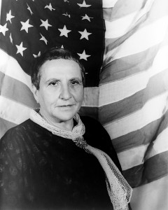 """Gertrude Stein, """"a rose is a rose is a rose,"""" photographed by Carl Van Vechten in 1935"""