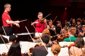 David Robertson and Gil Shaham in rehearsal with the NYO-USA.
