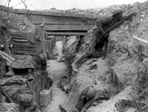 A German trench occupied by British soldiers, Battle of the Somme, 1916