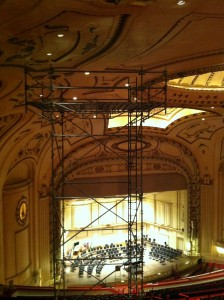 Scaffold as seen from the top rows of Powell Hall.