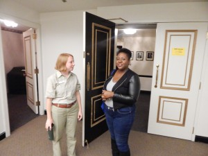 The Saint Louis Zoo's Maggie McCoy, who served as guest host, and the Symphony's Director of Education Berakiah Boone in the Green Room