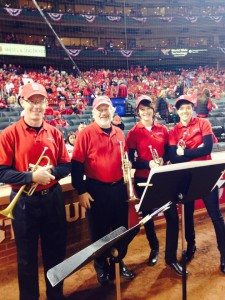 Playoff trumpets. Left to right: Mike Walk, Tom Drake, Carrie Schafer, Karin Bliznik