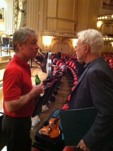 "David Robertson and John Adams during rehearsal break of ""City Noir,"" February 2013."