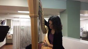 Allegra Lilly prepares to perform at the St. Louis University Cancer Center.