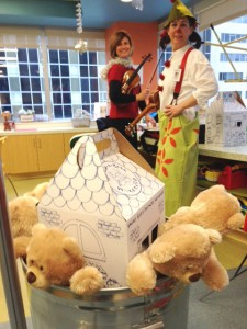 "Angie Smart and Claire ""the Clown"" Wedemeyer bring Build-a-Bear to Mercy Hospital through the combined SymphonyCares and Clowns on Call programs."