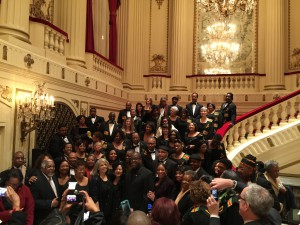 Patti Austin and St. Louis Symphony IN UNISON Chorus grab a photo op on the grand staircase.