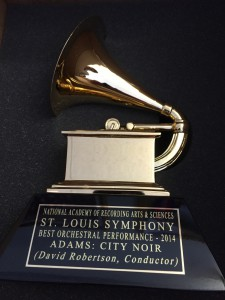 2014 Grammy Award. St. Louis Symphony. Best Orchestral Performance. Adams: City Noir. David Robertson, conductor.