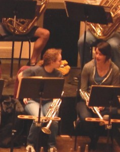 Sóley Hyman and St. Louis Symphony trumpet Caroline Schafer during YO-STL Symphony side-by-side rehearsal