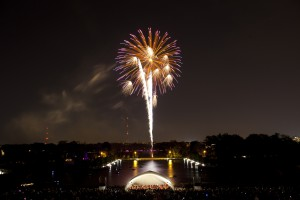 Fireworks over the orchestra shell at Forest Park. Next Symphony Forest Park concert September 15.
