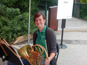 St. Louis Symphony horn player Julie Thayer at a St. Louis Zoo concert last September.