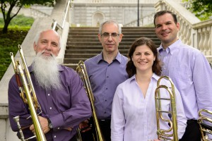 The Trombones of the St. Louis Symphony: left to right, Gerry Pagano, Tim Myers, Amanda Stewart, Jonathan Reycraft