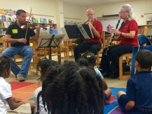 "Left to right: Shawn Weil, Tod Bowermaster and Tina Ward perform ""Peter and the Wolf"" at Hodgen Elementary School."