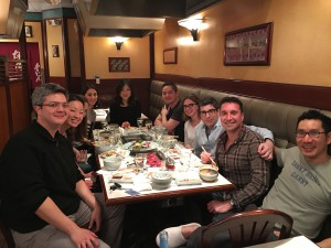 Tours are for food. Left to right: Andrew Cuneo, Helen Kim, Elizabeth Chung, Melody Lee, David Kim, Ann Choomack, Adam Crane, Shawn Weil, and Daniel Lee at Korean barbecue restaurant.