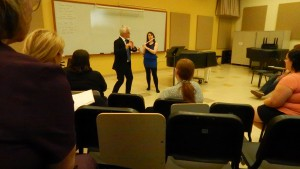 Friday afternoon, Feb. 19. Principal Flute Mark Sparks conducts master class with students at McKendree University