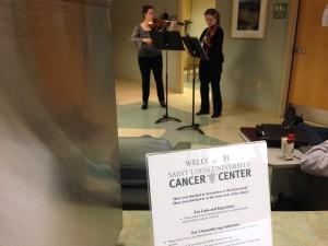 Kristin Ahlstrom and Eva Kozma at the SLU Cancer Center
