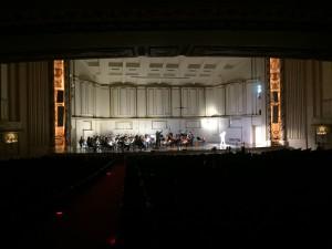 """""""A Midsummer Night's Dream"""" rehearsal. Maureen Thomas in spotlight stage left."""