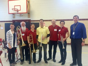 Left to right: Lucy Mosier, Orchestra Director @ University City High; Gerard Pagano, bass trombone; Amanda Stewart, Associate Principal Trombone; Jeffrey Stone, trumpet; Roger Kaza, Principal Horn; Karin Bliznik, Principal Trumpet; Rob Giles, Band Director @ Brittany Woods Middle School