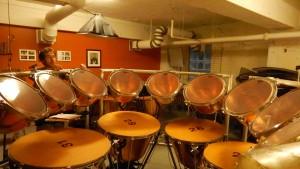The timpani set in Shannon Wood's studio