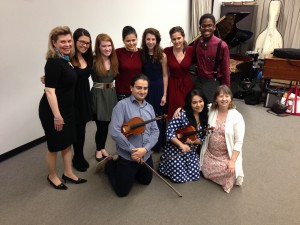 Guest violinsit Karen Gomyo (standing, center) gave a master class at Southern Illinois University-Edwardsville.