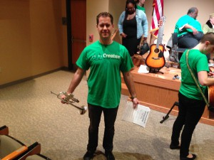 St. Louis trumpet player Jeffrey Strong proudly wears his Community Music Making T-shirt.