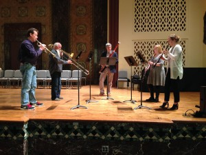 "Soundcheck for Stravinsky's ""Tango,"" arranged by Cally Banham, prior to performance of Stravinsky's Mass at Washington University. Left to right: Mike Walk, Gerard Pagano, Andrew Cuneo, Cally Banham, Jelena Dirks"