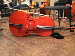A cello at rest. it even looks like it has a small pillow.