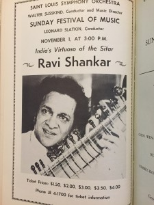 A program page promoting Ravi Shankar at Powell Hall in 1970.