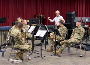 STL Symphony Principal Trombone Tim Myers and members of the 399th Army Band.