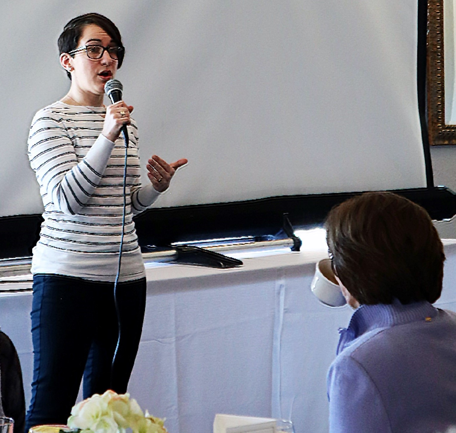 Kelsey Templeton speaking at Winter Brunch