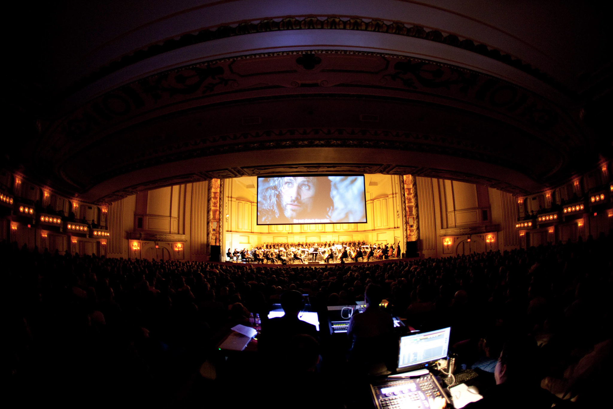 Stagehands at the mix position during the SLSO's performance of The Lord of the Rings