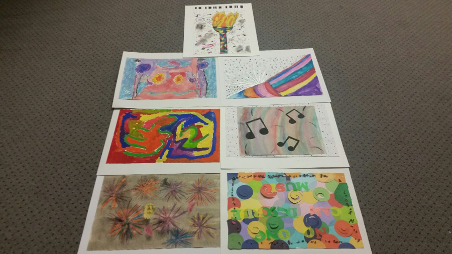 "A small sample of artwork submitted for this year's Picture the Music. The students' art was done in response to what they heard and/or felt while listening to John Williams' ""Olympic Fanfare and Theme."""