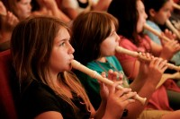 Link Up Students Playing Recorders at Powell Hall